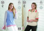 King Cole Ladies Raglan Sleeve Sweaters Bamboo Cotton Knitting Pattern 4479  4 Ply