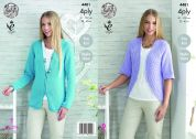 King Cole Ladies Raglan Sleeve Cardigan & Bolero Bamboo Cotton Knitting Pattern 4481  4 Ply