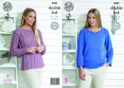 King Cole Ladies Sweaters Bamboo Cotton Knitting Pattern 4483  DK