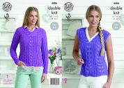 King Cole Ladies Sweater & Top Bamboo Cotton Knitting Pattern 4486  DK
