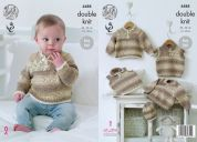 King Cole Baby Sweaters, Slipover & Hat Drifter for Baby Knitting Pattern 4488  DK