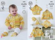 King Cole Baby Raglan Cardigans, Hat & Socks Drifter for Baby Knitting Pattern 4490  DK