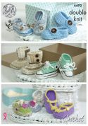 King Cole Baby Shoes Cherish Crochet Pattern 4492  DK