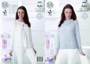 King Cole Ladies Raglan Sleeve Cardigan & Sweater Giza Knitting Pattern 4500  4 Ply