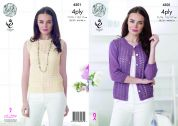 King Cole Ladies Top & Cardigan Giza Knitting Pattern 4501  4 Ply