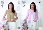 King Cole Ladies Top & Cardigan Giza Knitting Pattern 4503  4 Ply