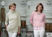 King Cole Ladies Sweater & Tunic Top Authentic Knitting Pattern 4506  Chunky
