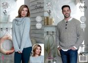 King Cole Ladies & Mens Raglan Sweaters & Cowl Authentic Knitting Pattern 4510  Chunky
