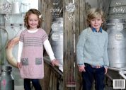 King Cole Childrens Raglan Sweater & Sweater Dress Authentic Knitting Pattern 4511  Chunky