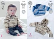 King Cole Baby Raglan Sweater & Hoodie Cherish Knitting Pattern 4516  DK