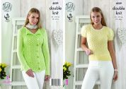 King Cole Ladies Top & Cardigan Giza Knitting Pattern 4529  DK