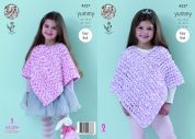 King Cole Girls Ponchos Yummy Knitting Pattern 4537  Chunky