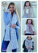 King Cole Ladies & Girls Shawls & Scarves Yummy Knitting Pattern 4540  Chunky