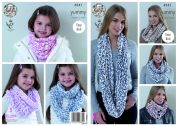 King Cole Ladies & Girls Snoods Yummy Knitting Pattern 4541  Chunky