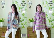 King Cole Ladies Raglan Sleeve Jacket, Sweater & Scarf Drifter Knitting Pattern 4546  DK