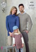 King Cole Family Sweater & Tunic Top Fashion Knitting Pattern 4552  Aran