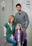 King Cole Family Sweater, Cardigan & Waistcoat Fashion Knitting Pattern 4553  Aran