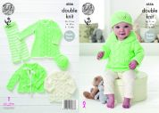 King Cole Baby Dress, Cardigan, Sweater, Leggings & Hat Glitz Knitting Pattern 4556  DK