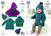 King Cole Baby Coat, Sweater, Poncho & Hat Comfort Knitting Pattern 4557  Chunky