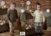 King Cole Childrens Raglan Tunic Top & Cardigan Fashion Knitting Pattern 4561  Aran
