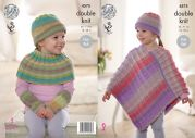 King Cole Girls Ponchos, Wrist Warmers & Hat Sprite Knitting Pattern 4575  DK