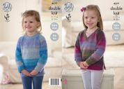 King Cole Girls Sweaters Sprite Knitting Pattern 4577  DK