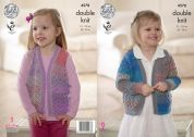 King Cole Girls Cardigan & Waistcoat Sprite Knitting Pattern 4578  DK