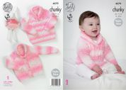 King Cole Baby Cardigan & Sweater Big Value Baby Soft Knitting Pattern 4579  Chunky