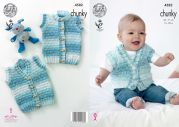 King Cole Baby Waistcoats Big Value Baby Soft Knitting Pattern 4582  Chunky