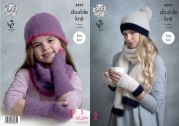 King Cole Ladies & Girls Hats, Mitts, Scarf & Snood Embrace Knitting Pattern 4592  DK