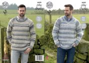 King Cole Mens Sweaters Drifter Knitting Pattern 4600  Chunky