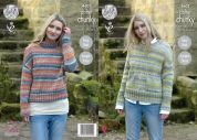 King Cole Ladies Sweaters Drifter Knitting Pattern 4601  Chunky
