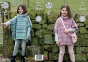 King Cole Girls Ponchos Drifter Knitting Pattern 4602  Chunky
