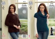 King Cole Ladies Sweater, Top, Hat & Scarf Big Value Twist Knitting Pattern 4614  Super Chunky