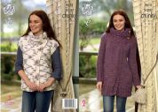 King Cole Ladies Cardigan & Waistcoat Big Value Twist Knitting Pattern 4615  Super Chunky