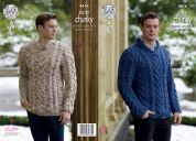 King Cole Mens Sweaters Big Value Twist Knitting Pattern 4616  Super Chunky