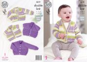 King Cole Baby Cardigans Comfort Prints Knitting Pattern 4619  DK