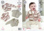 King Cole Baby Cardigans Comfort Prints Knitting Pattern 4621  DK