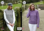 King Cole Ladies Sweater & Slipover Fashion Combo Knitting Pattern 4624  Aran