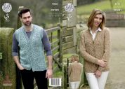 King Cole Ladies Cardigan & Waistcoat Fashion Combo Knitting Pattern 4626  Aran