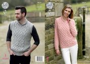 King Cole Ladies Sweater & Slipover Fashion Combo Knitting Pattern 4627  Aran