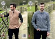 King Cole Mens Sweater & Slipover Fashion Combo Knitting Pattern 4628  Aran