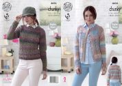 King Cole Ladies Cardigan & Sweater Cotswold Knitting Pattern 4634  Chunky