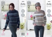 King Cole Ladies Sweaters Cotswold Knitting Pattern 4638  Chunky