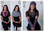 King Cole Ladies Scarf, Hat, Gloves & Neck Warmer Party Glitz Knitting Pattern 4639  4 Ply