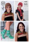 King Cole Ladies & Girls Neck Wrap, Hat, Scarf & Socks Party Glitz Knitting Pattern 4640  4 Ply