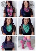 King Cole Ladies Snood, Scarf, Neck Warmer, Neckerchief & Socks Party Glitz Knitting Pattern 4641  4 Ply