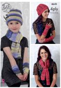 King Cole Ladies & Girls Scarf, Hat & Wrist Warmers Party Glitz Knitting Pattern 4642  4 Ply