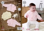 King Cole Baby Cardigans & Sweater Comfort Knitting Pattern 4643  Aran
