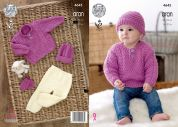 King Cole Baby Sweater, Trousers, Hat & Mittens Comfort Knitting Pattern 4645  Aran